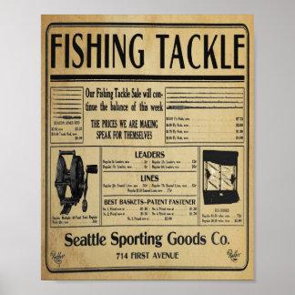 Impresión de la tienda de los aparejos de pesca póster