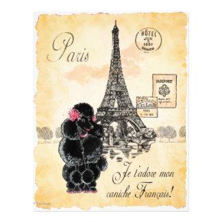 Impresión de la torre Eiffel del caniche del negro Plantillas De Membrete