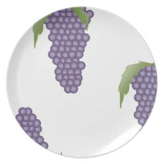 Impresión de la uva plato para fiesta