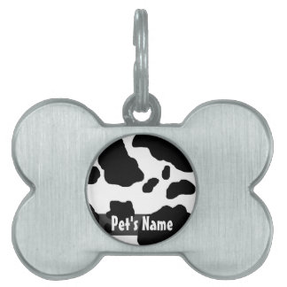 Impresión de la vaca de la diversión personalizada placas mascota