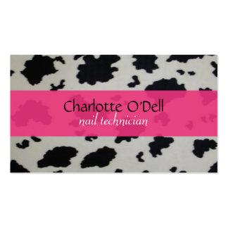impresión de la vaca; rosa tarjetas de visita