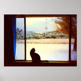 Impresión de la ventana del invierno de Tosca Póster