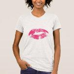 Impresión de labios rojos camisetas