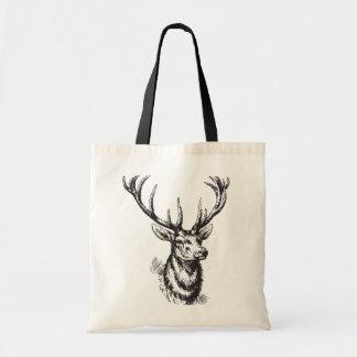 Impresión de las astas de los ciervos del vintage bolsa tela barata