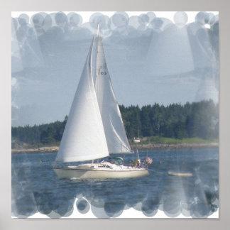 Impresión de las burbujas del barco de vela poster