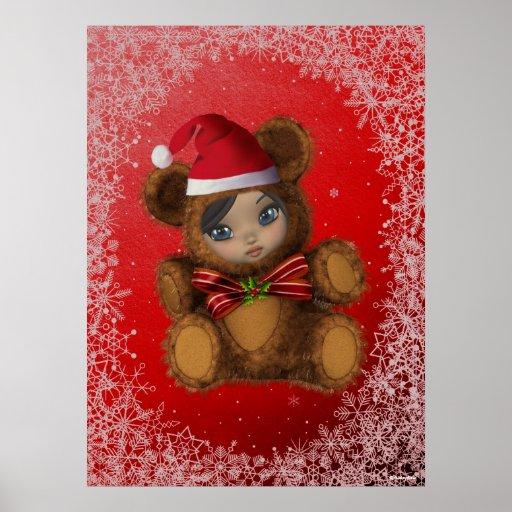 Impresión de las Felices Navidad de Beary Póster
