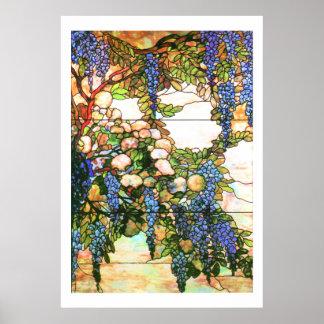 Impresión de las glicinias del vitral de Tiffany