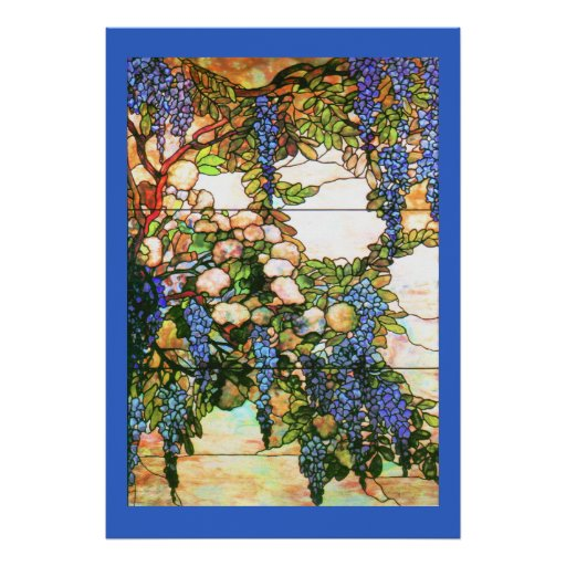 Impresión de las glicinias del vitral de Tiffany Poster