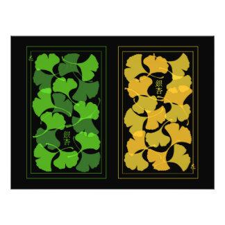 Impresión de las hojas del Ginkgo - arte de la Cojinete