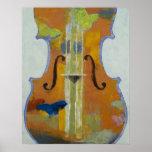 Impresión de las mariposas del violín póster