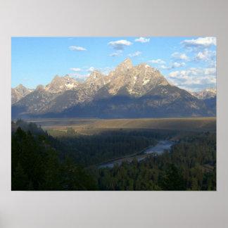 Impresión de las montañas de Jackson Hole Póster