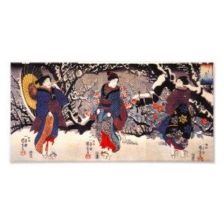 Impresión de las mujeres de Kuniyoshi tres Fotografía