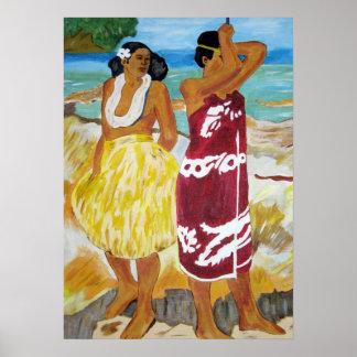 Impresión de las mujeres de Tahitian Póster