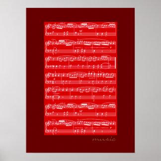 impresión de las notas musicales para las paredes posters