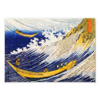 Impresión de las olas oceánicas de Hokusai Fotografía