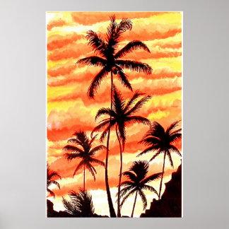 Impresión de las palmas de la puesta del sol póster