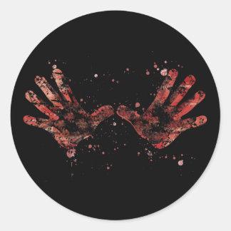 Impresión de las palmas pegatina redonda