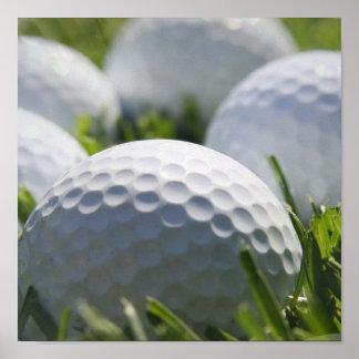Impresión de las pelotas de golf póster