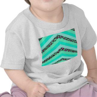 Impresión de las rayas de Chevron Zizag del rosa Camiseta
