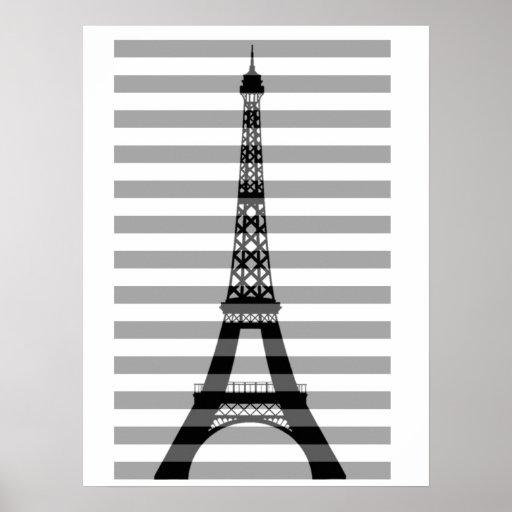 Impresión de las rayas de París Poster