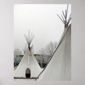 Impresión de las tiendas de los indios norteameric póster