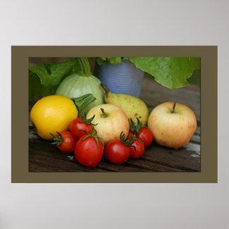 Impresión de las verduras del verano póster