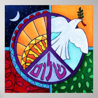 Impresión de levantamiento de la paz póster