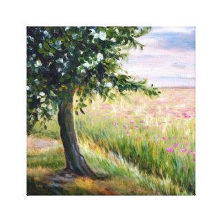 Impresión de lino de las flores de la primavera y impresiones en lienzo estiradas