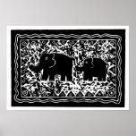 Impresión de Lino del elefante y del becerro Póster