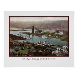 Impresión de los 1800s de Pittsburgh del vintage Poster