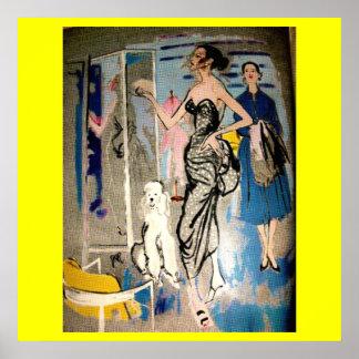 Impresión de los años 50 del encanto de la moda póster