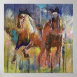 Impresión de los caballos de raza póster