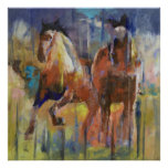Impresión de los caballos de raza poster