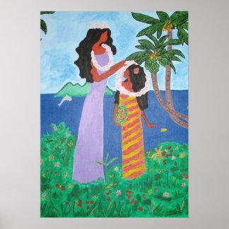 Impresión de los chicas de Tahitian Póster