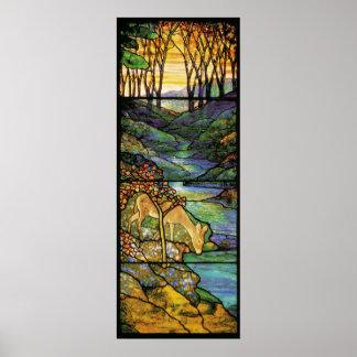 Impresión de los ciervos del vitral de Tiffany