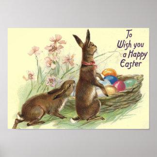 Impresión de los conejos de Pascua del vintage Posters