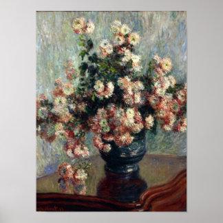 Impresión de los crisantemos de Monet Poster