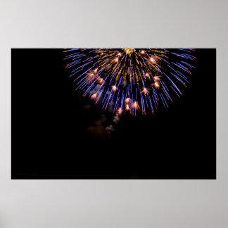 Impresión de los fuegos artificiales P3649 Póster