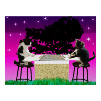 Impresión de los gatitos del juego póster