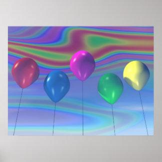 Impresión de los globos del fiesta poster