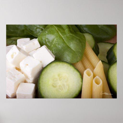 Impresión de los ingredientes de la ensalada de pa impresiones