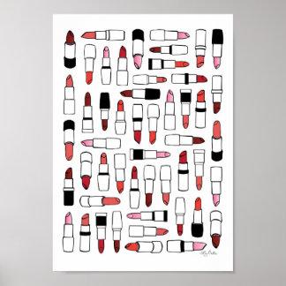 Impresión de los lápices labiales póster