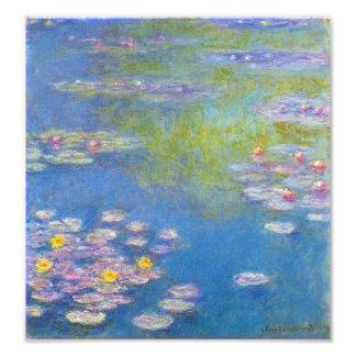 Impresión de los lirios de agua amarilla de Monet Cojinete