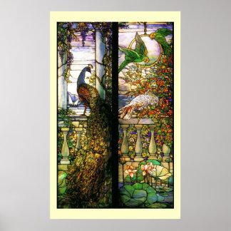 Impresión de los loros del pavo real del vitral de póster