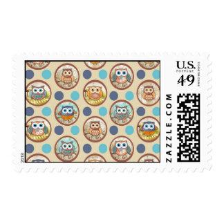 Impresión de los lunares del búho sellos postales