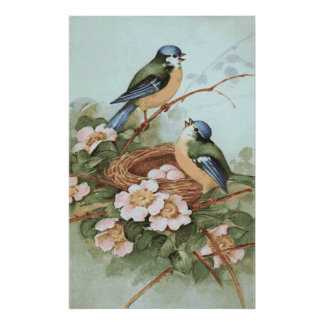 Impresión de los pájaros del vintage póster