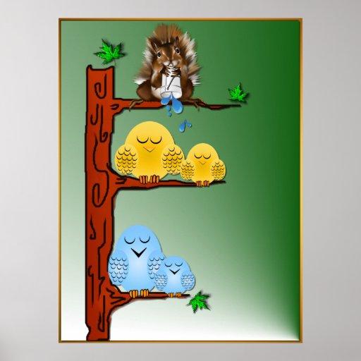 Impresión de los pájaros el dormir póster