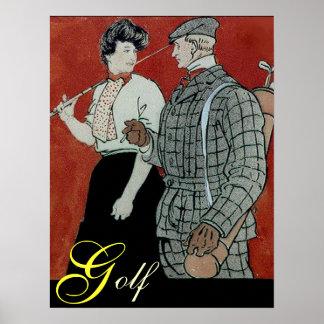Impresión de los pares del golf poster