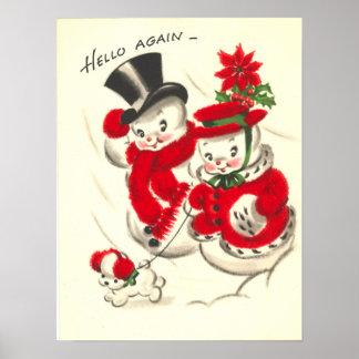 Impresión de los pares del muñeco de nieve del vin posters