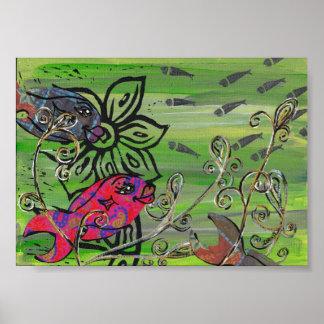 Impresión de los pescados del remiendo poster